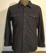 Men's Tommy Hilfiger Blue Chamois Cotton Button Front Shirt Size 2XL Flip Cuffs
