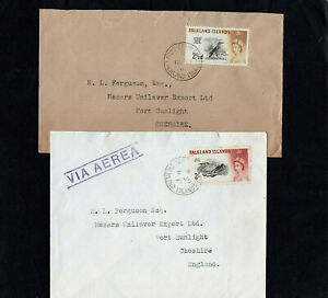FALKLAND ISLANDS - 1962 - HIGH VALUE - TWO COVERS TO ENGLAND - PORT STANLEY CDS