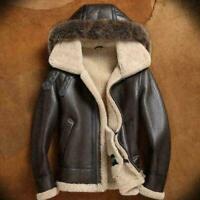 Mens Bomber Aviator RAF Brown Flying Fur Collar Sheepskin Genuine Leather Jacket