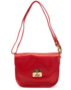 IL BISONTE Leather Red Vacchetta NWT with Matching Pouch Made in Italy