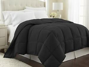 1Piece Black Comforter Cotton 800TC US Size Microfiber Fill Heavy Weight Solid