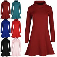 Womens Ladies Long Sleeves Textured Cowl Neck Swing Midi Skater Dress UK 8-26