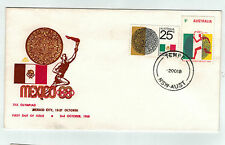 1968 Mexico Olympic Games Pair 5c & 25c On Royal First Day Cover