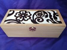 Wooden Pyrography embossed flowers large Box