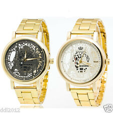 Womens Stainless Steel Hollow Dial Waterproof Analog Quartz Golden Wrist Watches