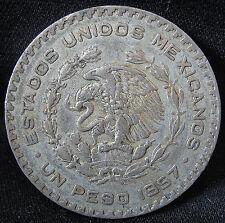 1957-1967 10% Silver Mexican Un Peso - BIG OLD MORELOS SILVER DOLLAR FROM MEXICO