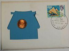 """1969 Fiji 1 Cent PNC, BU, UNC Coin, W/ a 25c """"Takia"""" Stamp"""