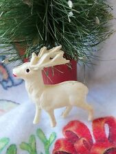 "Vintage 40'S Celluloid Reindeer Marked Japan Rare 1 1/2"" Tall Xmas Decoration"