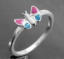 925 ECHT SILBER *** Kinder Ring Schmetterling Kinderring pink-blau
