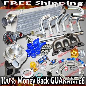 Cast Iron Manifold GT35 Turbo Kits for 02-04 Honda Civic D17 1.7L SOHC ONLY