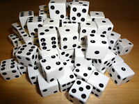 Lot of 100 White 16mm 16 mm D6 Dice Square Gaming Casino *Fast Ship* D 6