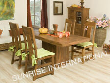 Contemporary Wooden Dining Table with 4 Chair Set