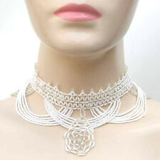 NEW WOMEN WHITE SILVER BEADED NATIVE STYLE WEDDING FASHION NECKLACE N9/10