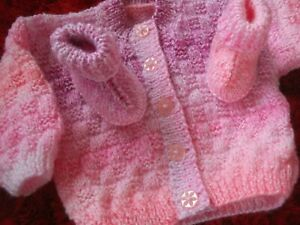 """HANDKNITTED CARDIGAN AND BOOTS..TO FIT 18"""" CHEST..(APPROX 6/12 MONTHS)"""