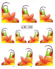 Nail Art Water Decals Stickers Transfers Orange Flower French Tip (B100)