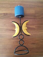 Vtg 90s Witchy Wooden Moons and Metal Goddess Candle Holder with Blue Candle