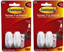 4 x 3m Command Small Designer Hooks white Damage Free Utensil Hanging Holds 450g