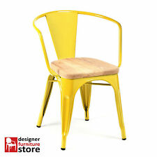 Replica Xavier Pauchard Tolix Metal Armchair - Yellow - 3cm Oak Wood Seat
