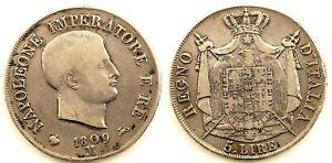 Italia-Napoleon Bonaparte. 5 Liras. 1809. Milan. MBC+/VF+. Plata 24,7 g. ESCASA