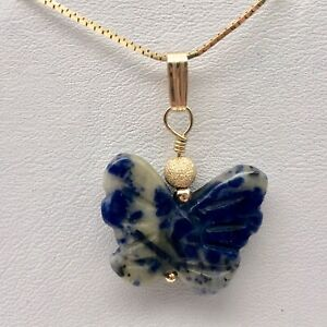 Semi Precious Stone Jewelry Flying Butterfly Pendant Necklace of Sodalite/Gold