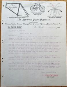 Bicycle 1896 Letterhead: Allwood Cycle Co.- Wood Frames/Handle Bars/Chain Guards