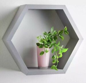 NEW Hexagonal Floating Wall Shelf Shelves Space Storage Home Decor GREY