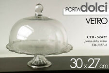 ELEGANTE ALZATA PORTA DOLCI TORTA 30*H27 CM VETRO + CAMPANA COPERCHIO CTD 565427