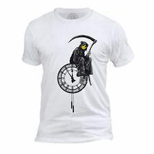 T-shirt Homme Col Rond Banksy Faucheuse Horloge Smiley Grim Reaper