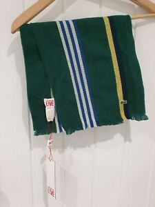 New Mens Lacoste Live 100% Wool Green Striped Fringed Scarf