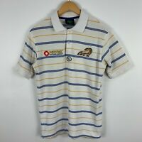 Parramatta Eels Shirt Mens XS White Striped Short Sleeve Collared