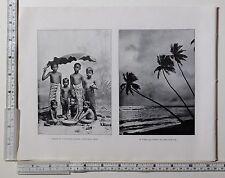 c1900 ANTIQUE CEYLON PRINT ~ GROUP OF CHILDREN UNDER A BANANA LEAF