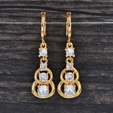 Fashion Women Gold Plated Clear CZ Cubic Zirconia Gourd Dangle Earrings Jewelry