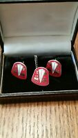 Classic Custom Red Hudson Logo Cuff Links and Tie tac. Hudson automobile. Car.