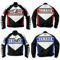 """Yamaha"" Motorbike Motorcycle Cowhide Leather Racing Jacket BLACK BLUE RED"