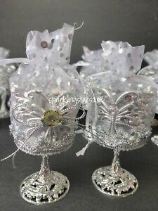 12 Fillable Wedding Birthday Quince Party Favors Silver Cup Recuerdos de Boda