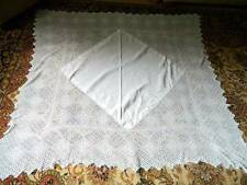 """Antique very large Victorian good white Irish linen tablecloth deep lace - 66""""sq"""