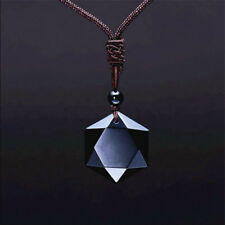 Men Women Star Of David/Hexagon Obsidian Pendant Necklace Fashion Gift Jewelry
