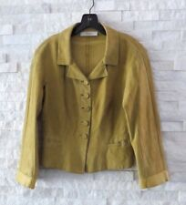 Prada Chartreuse Green Suede & Leather Fitted Jacket Coat 38
