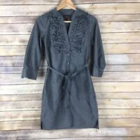 Trulli Womens Dress 100% Cotton Shirt Button Front Pintucked Chambray Belt 2