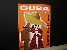 Delta Airlines Travel Poster to Cuba From American Express Travel Office