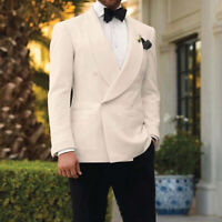 Ivory Tuxedos Men Shawl Lapel Wedding Suits Formal Groom Double-breasted Blazer