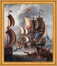 Sea Fight with Barbary Corsairs Lorenzo A Castro Segelschiff Schlacht B A3 02789