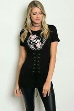 New Junior's Sexy Boutique Halloween Black white Skull corset top sizes S-M-L