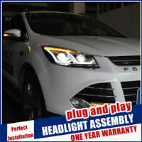 For Ford Kuga Headlights 13-16 Double Beam Lens Projector Double U LED DRL RHD