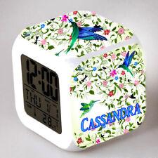 Reveil cube led lumière nuit alarm clock oiseau personnalisé prénom réf 10