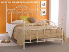 NEW QUEEN AVONY  METAL BED -  ANTIQUE CREAM (NO GOLD BRUSH AS SHOWN)