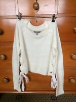 Women's Cream Tied Long Sleeve Knit Top Jumper - Brand: Fashion Nova - Size: S/M
