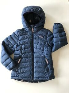 Patagonia Reversible Down Sweater Hoody Jacket Girls Size Small 7-8 Navy Stars