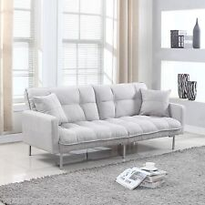 Modern Plush Tufted Linen Fabric Splitback Living Room Sleeper Futon Light Grey
