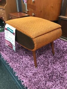 Z390 RETRO SPUTNIK Orange yellow sewing stool Dansette Legs Original 1960s